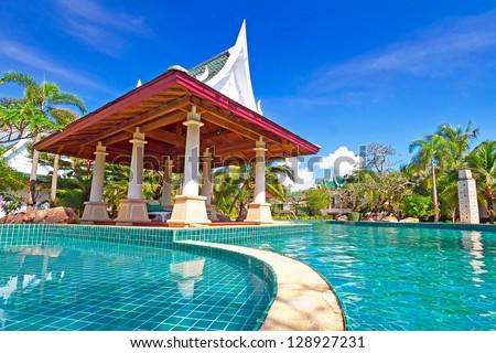KOH KHO KHAO, THAILAND - NOV 14: Scenery of swimming pool at Andaman Princess Resort & SPA. Hotel was destroyed by tsunami in 2004 and rebuild, Koh Kho Khao, Phang Nga in Thailand on Nov. 14, 2012.
