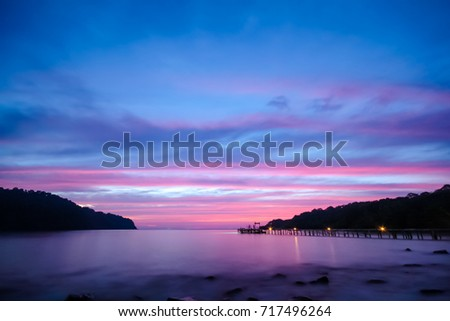 Stock Photo koh kood, National park of Thailand,Eastern of Thailand in Dusk. Sunset at the beach,Sky turned to purple,pink and dark blue.