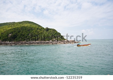 koh lan and the boat, pattaya thailand - stock photo