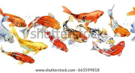 koi carp seamless pattern. watercolor fish illustration