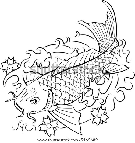 koi fish tattoo designs on Koi Fish In Traditional Japanese Ink Style. Black & White. Stock Photo ...