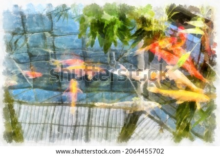 koi fish in water watercolor style illustration impressionist painting.