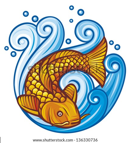 koi fish (koi fish in the sea waves, illustration of a japanese or chinese inspired koi carp fish)