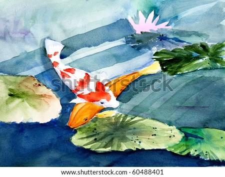 koi in garden pond, original watercolor painting - stock photo