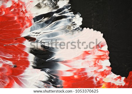 Koi painting Japanese mood tone swirling color movement in black red white luxury beauty pattern like human face in mysticism world