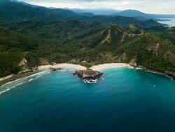 Koka beach Flores Island in Indonesia drone view
