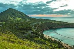 Koko Head Crater and Hanauma Bay at dawn on Oahu, Hawaii