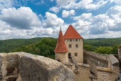 Kokorin castle view to tower from walls, middle Bohemia, Czechia