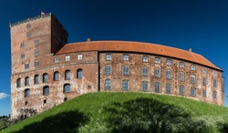 Kolding, old holding castle on city hill panorama