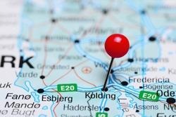 Kolding pinned on a map of Denmark