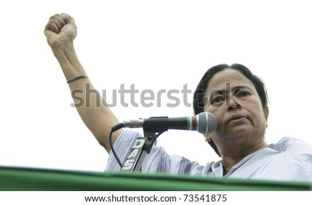 KOLKATA - FEBRUARY 20:  Agitated and angry Indian Railways minister Ms. Mamata Banerjee while giving her speech during a political rally in Kolkata, India on February 20, 2011.