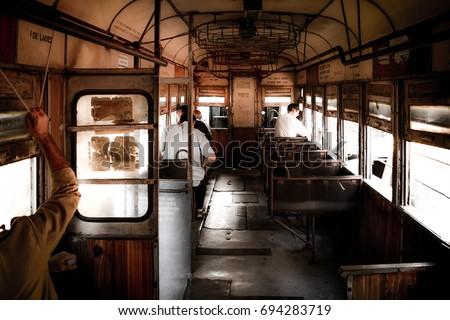 KOLKATA, INDIA - JULY, 2017: A Kolkata Tram from Inside