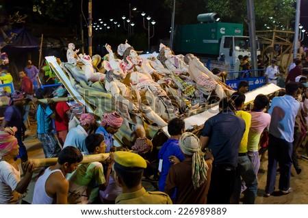 KOLKATA, INDIA - OCT 06: An annual Hindu festival in South Asia that celebrates worship of the Hindu goddess Durga on October 06, 2014 in Kolkata, India.