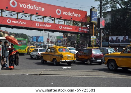 KOLKATA, WEST BENGAL, INDIA - OCT 27: Cars stop in heavy traffic jam on busy street in Kolkata on October 27, 2009 in Kolkata, India. Heavy traffic in Kolkata cause serious problem for all Kolkata citizens.