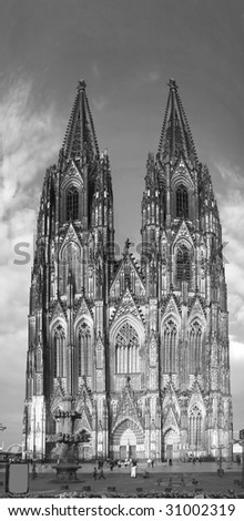 Koln dom cathedral front view panorama tall towers ancient landmark Germany