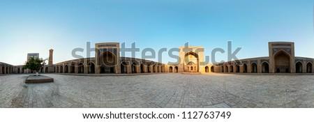 Kolon mosque in Bukhara, Uzbekistan. Wide angle panorama.