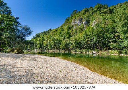Kolpa river in Pobrezje (Adlesici), Bela Krajina (White Carniola) region in Slovenia, Europe. #1038257974