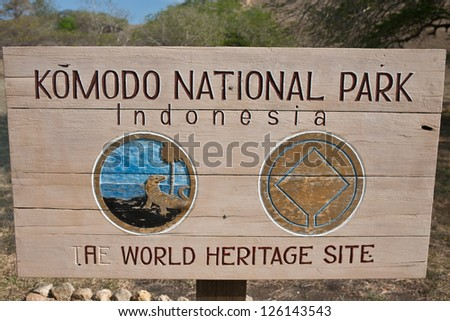 Komodo National Park is known for its dragons (Varanus komodoensis).  These are giant, carnivorous monitor lizards found on a few islands in Indonesia including Komodo Island. - stock photo