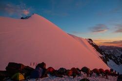 Komsomole peak mountains sunset alpine life