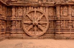 Konark Temple, Puri - 27 4 2014: The sun temple Konark has stone curved beautiful chariot for sun god.
