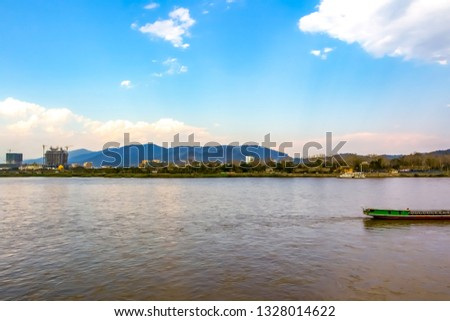 Kong river view take picture at Golden Triangle,chiang sean,Chiang rai,Thailand