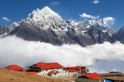 Kongde lodge and village and mount Thamserku near Namche bazar, Khumbu valley, Solukhumbu, Nepal Himalayas