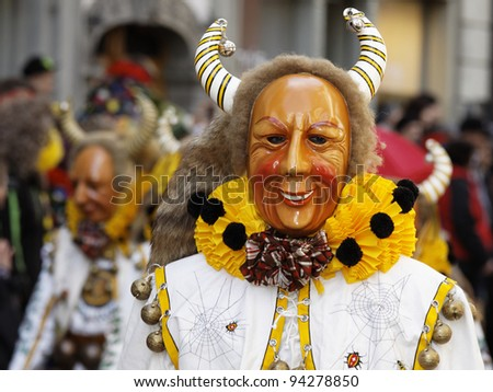 KONSTANZ, GERMANY - JANUARY 22 : Mask parade at the historical annual carnival on January 22, 2012 in Konstanz, Germany