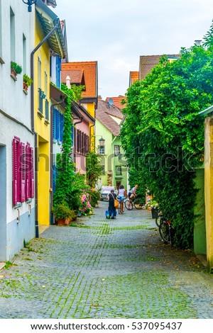 KONSTANZ, GERMANY, JULY 23, 2016: View of a narrow street of the Konstanz in Germany.  #537095437