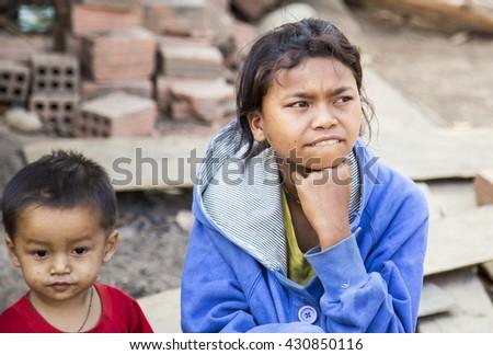 Kontum, Vietnam - March 28, 2016: Portrait Bana ethnic children in in Central Highland of Vietnam. #430850116