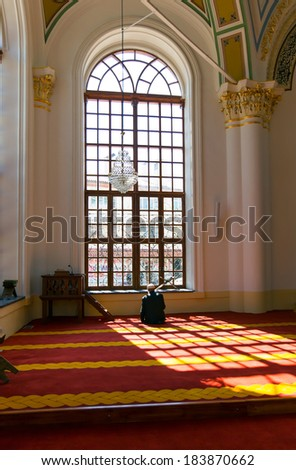 KONYA-TURKEY 24 MARCH An unidentified muslim man prays in Aziziye Mosque in Konya Turkey on March 24 2014