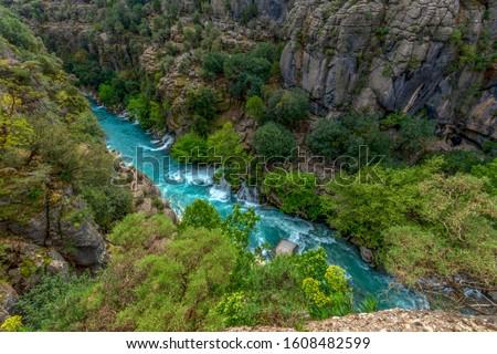 Koprulu Canyon National Park. Bridge and water resources. Manavgat, Antalya, Turkey. Stok fotoğraf ©