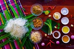 Korat Stir fried Rice Noodle, Ingredients for Pad Mee Korat, Fried Mee Korat, Mee Korat is the name of the local region