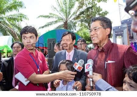 KORAT, THAILAND - AUG 21 :  Dr.Chinaphat Bhumirat secretary of Basic Education Committee in One School One Product week at Nakhonratchasima Ed.Region1 on August 21, 2012 in Nakhonratchasima,Thailand