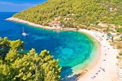 Korcula. Aerial view of Korcula island beach in Pupnatska Luka cove, southern Dalmatia archipelago of Croatia