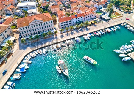 Korcula. Town of Vela Luka on Korcula island waterfront aerial view, archipelago of southern Dalmatia, Croatia Foto stock ©