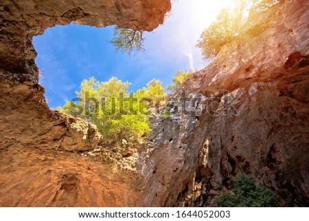 Korcula. Vela spilja cave in Vela Luka on Korcula island view. Amazing landscape of Dalmatia region of Croatia Foto stock ©