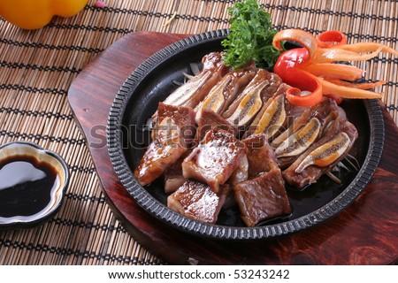 Korea BBQ Beef Ribs Iron Platter