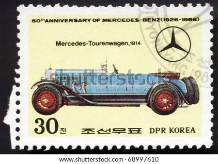 "KOREA - CIRCA 1986: a stamp printed by KOREA. Shows car ""Mersedes - Tourenwagen"", 1914. Circa 1986"