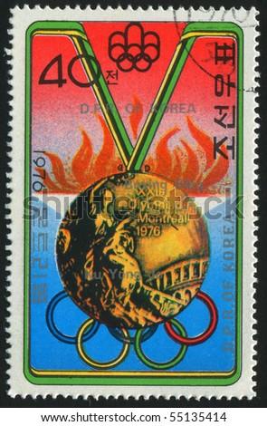 KOREA - CIRCA 1976: stamp printed by Korea,  shows olympic medal, circa 1976.