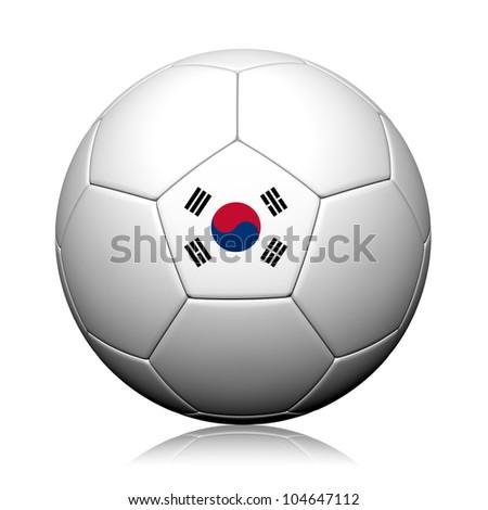 Korea Flag Pattern 3d rendering of a soccer ball - stock photo