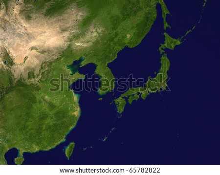 Korea, Japan, China and Taiwan from space - 3D render
