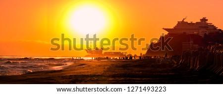 Korea Jeongdongjin,Panorama  morning light new year seaside cafes, seaside viewpoint and seaside hotel.South Korea #1271493223