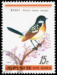 Korea 1988. Postage stamps had been printed in Korea. On a postage stamp depicts Ciocana (Latin Saxicola) - genus of passerine birds from the family muholovkovyh. Meadow Stonechat Saxicola rubetra