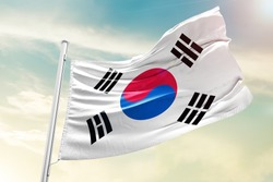 Korea south national flag cloth fabric waving on the sky with beautiful sky - Image