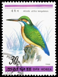 Korea - 1988. This postage stamp was printed in Korea. It depicts the common kingfisher (Latin Alcedo atthis) - small birds of the family Kingfishers (Alcedinidae), slightly larger than a sparrow.