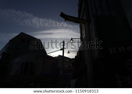 korea twilight city and street #1150918313