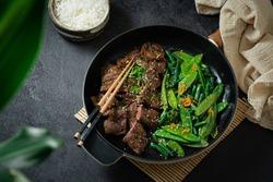 Korean Beef Bulgogi, grilled beef steak with spicy sauce