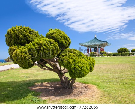 Korean Bell of Friendship pagoda and park in San Pedro, California
