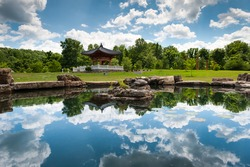 Korean Bell Tower Koi Pond at Meadowlark Botanical Gardens in Northern Virginia
