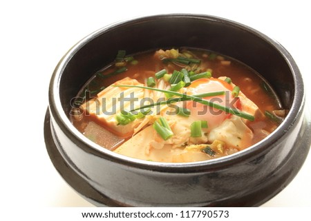 Korean cuisine, Tofu Jjigae and  vegetable stew - stock photo